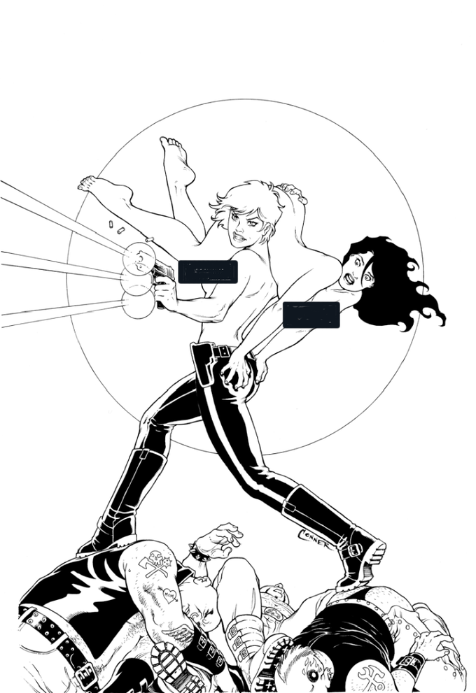Amanda Conner cover, black and white, censored.