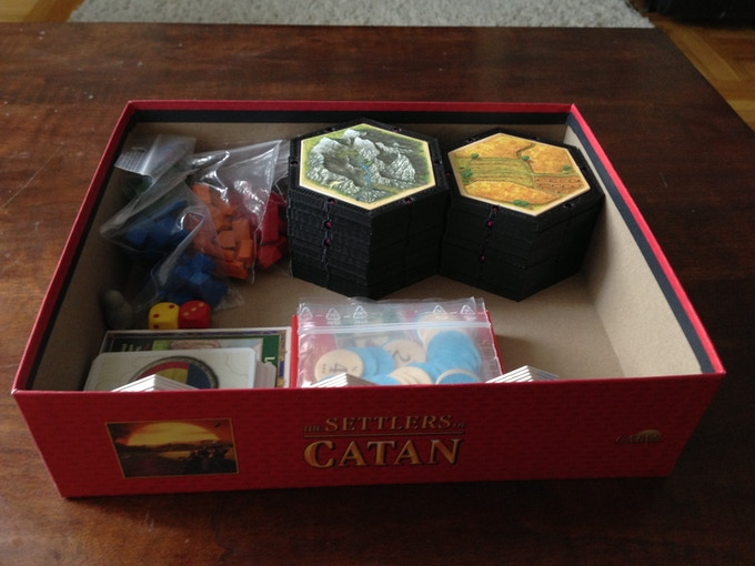 Everything for 3-4 player Settlers of Catan all in the original Box!