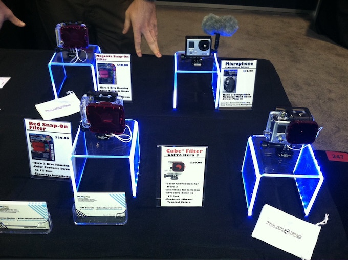 We displayed our Dive Filters for the Hero 2 Dive Housing, as well as our Hero 3 Cube Filter Prototype.
