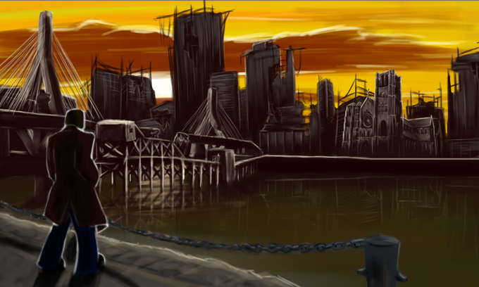 Concept Art:  The River Flats, a slums district in Greensburg--Courtesy of Jonathan Barnes