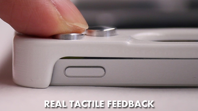 """Buttons have """"snapping"""" feel and only activate when pressed all the way."""