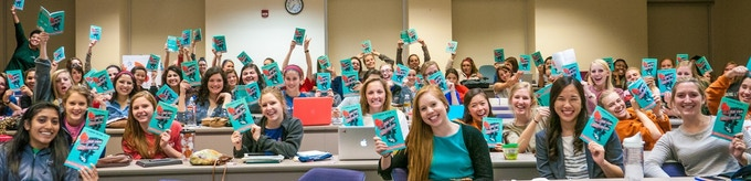 University of Texas students LOVED their 3-chapter preview copies of Be Your Own Boyfriend. credit: Nick Paul Photo