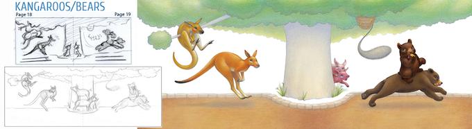 Kangaroos & Bears: from rough sketch to final illustration