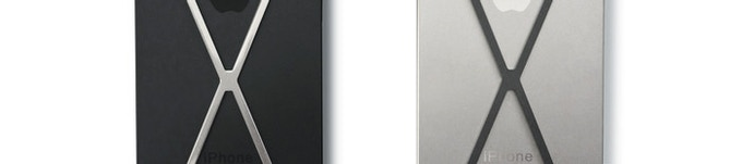 Left: polished X on black iPhone 5. Right: slate X on white iPhone 5