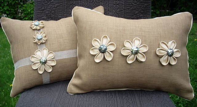 Denisse DiGiorgio hand-crafted neutral linen pillow with shell buttons & sculpted flowers (12 X 16).