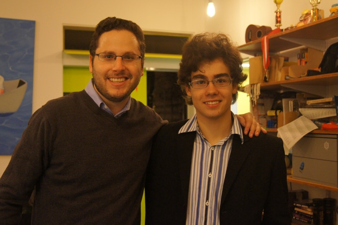 Curator Sam Lubell with Thomas Musca, who will be building the exhibition's 11-foot-tall Lego tower.