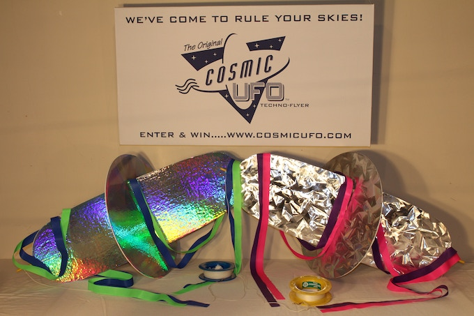 $150 pledge reward (2 Cosmic UFO kites, 1 travel box, 2 upgraded 600' spools of line, and 2 sets of streamers)  -  THE MORE THE MERRIER ! ! !