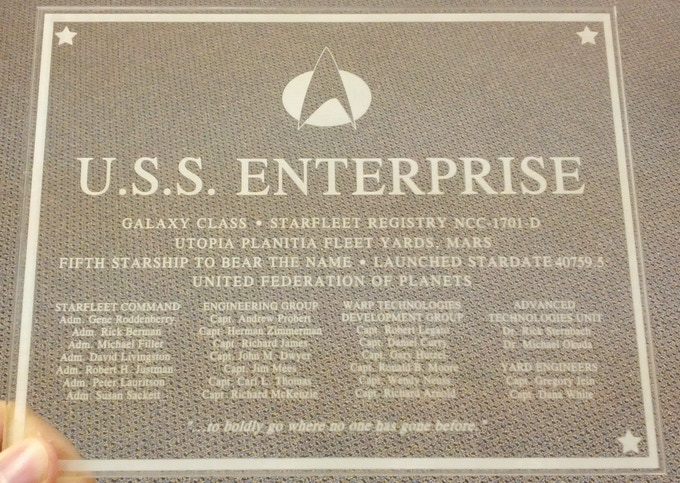 Enterprise D Bridge WALL PLAQUE- Clear Laser Etched plastic, Limited to 50 only, $100 donation