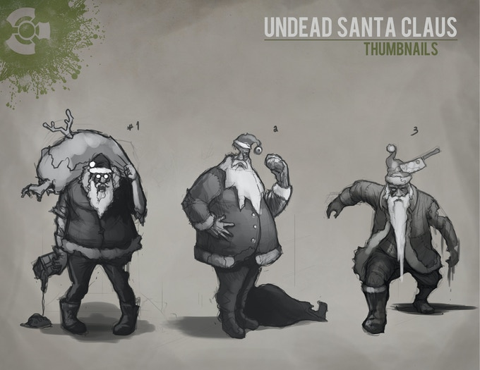 First Draft Concept Art for Zombie Santa Character/Figure