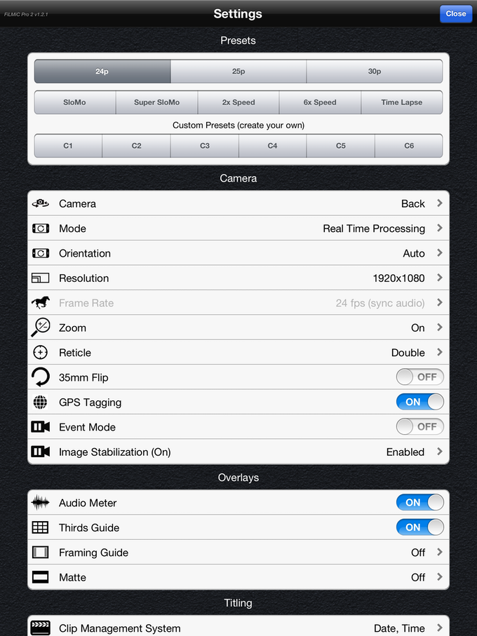 Here's a look at part of the extensive FiLMiC Pro Settings Menu.