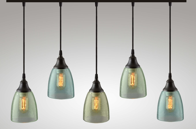 Linear Multi-Pendant with Celery, Aqua, and Olive Shades