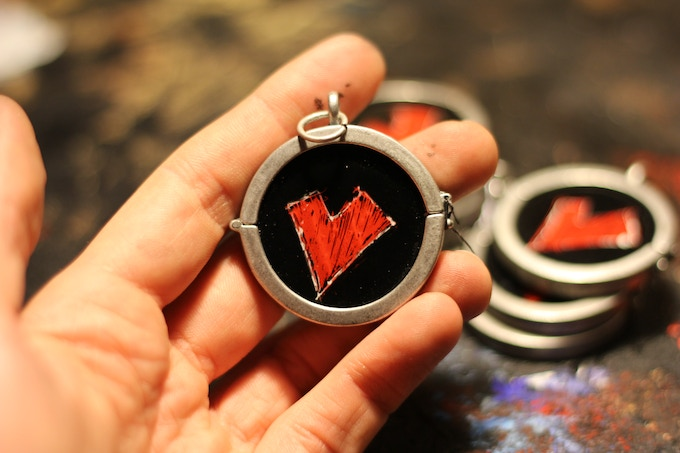 Wooden Heart Necklace Charm.