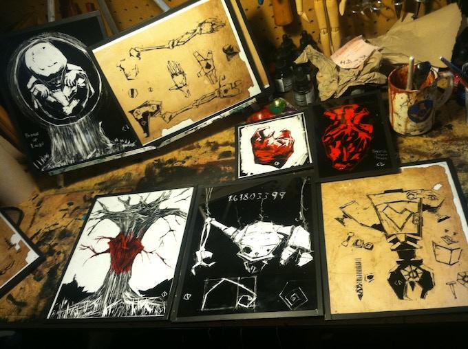 Original Pinocchio themed paintings.