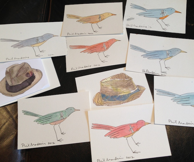 Rewards #5 & #6 (and others) - Hand painted postcards.