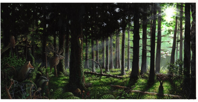 """""""The forest of fear"""", (revised artwork, still not the final artwork)."""