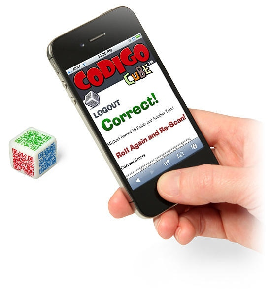 Playing is easy! Simply scan the QR Coded Die with the Camera on your Smartphone!