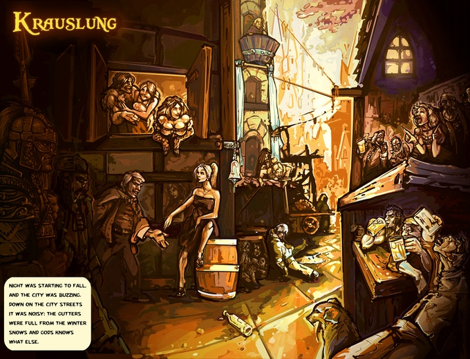 Concept art for the city of Krauslung, and its rather colourful inhabitants...