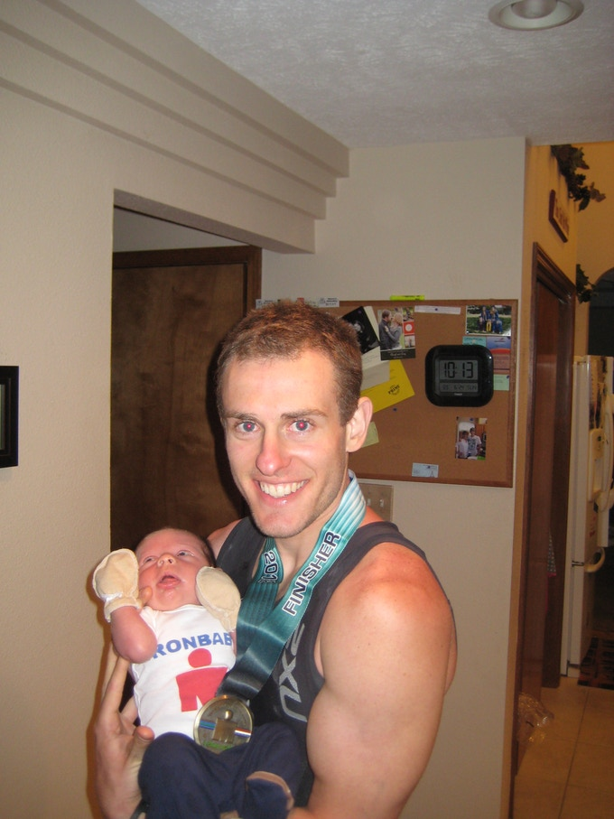 My newborn son Mason and I after finishing the 2011 Coeur d'Alene Ironman.