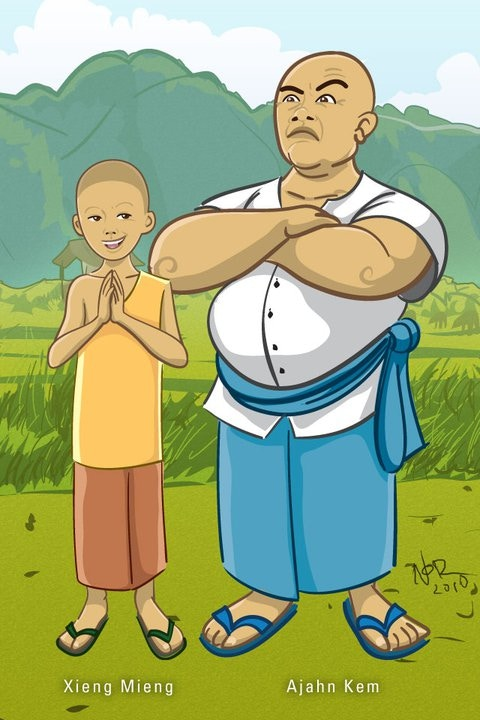 Xieng Mieng & Ajarn Kem, the main characters of the story