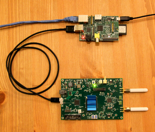 bladeRF connected to a Raspberry Pi