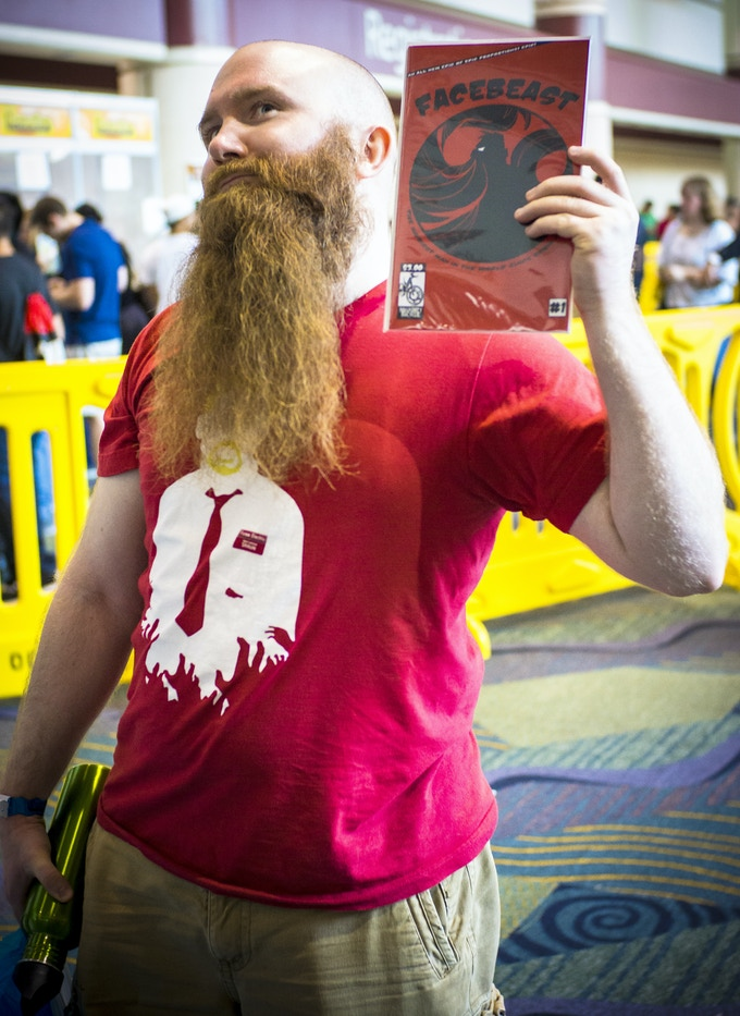 A jolly Facebeast fan sporting an epic beard and a copy of issue 1 at MegaCon 2012