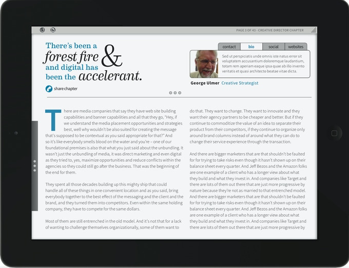 A mockup of reading a chapter with the iPad app.