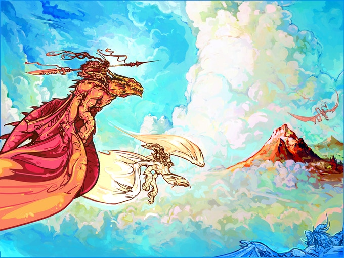Artwork for the Nelska dragons in flight, with their Siren riders.