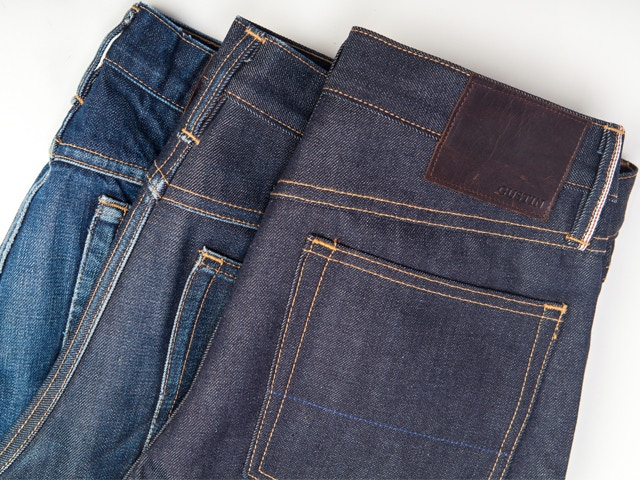 GUSTIN denim at three stages of wear - 1.5 years, 6 months, brand new
