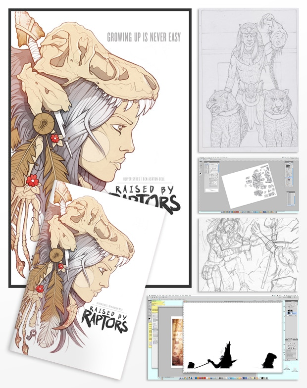 BEHIND THE SCENES PACK You will receive a copy of Raised by Raptors Issue No.1 - First Edition + an A3 Poster + the Background Pack + the PDF Pack + an assortment of digital behind the scenes workings... Rough Sketches, Refined Linework, Progress Shots...