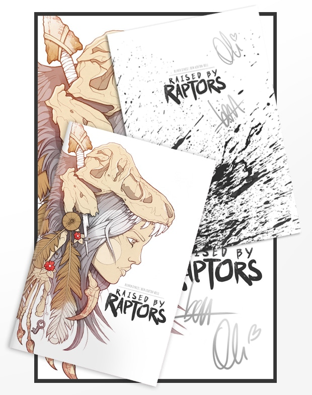 You will receive a copy of Raised by Raptors Issue No.1 - First Edition with Signed Insert + an A3 Poster Signed by Oli & Ben + the Backgrounds Pack + the PDF Pack + Behind the Scenes Pack.