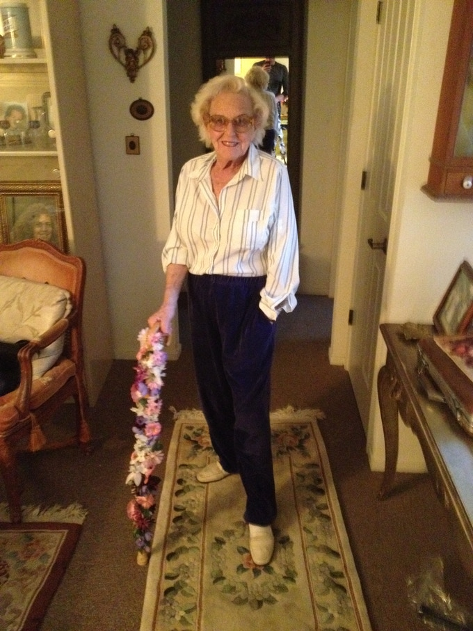 Grandma Pearl moments after showing me her product.