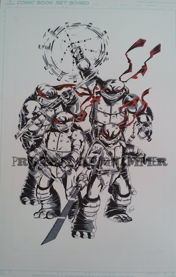 New Limited $80 reward backing, an original 11x17 hand drawn ink on illustration board of all 4 turtles, signed by me.