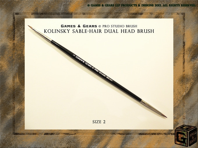 Games & Gears Pro Studio Brush Size 2. Good for base coating and also excellent larger size models