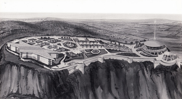Luckman and Alexander's star-shaped Hollywood Museum atop Griffith Park (LA City Archives)