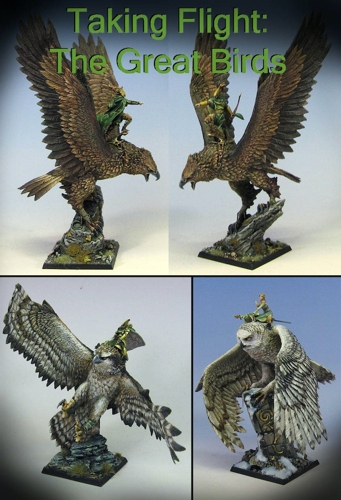 A Great Eagle, a Great Owl, and a second giant bird that I painted as an Osprey...