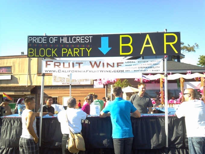 Exclusive wine served at the Hillcrest Block Party, the night before the Pride Parade.