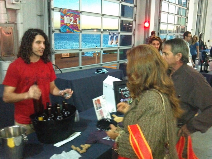 Pouring wine at the San Diego Reader Feast.