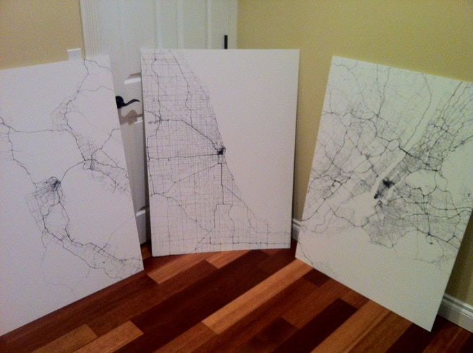 San Francisco, Chicago and New York oversize posters mounted on foam board