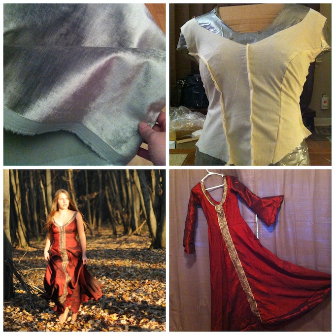 Here are some photos taken during the prep of the red dress costume.