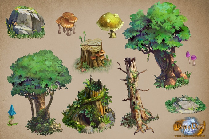 A few examples of the beautifully handpainted scenery assets of Days of Dawn
