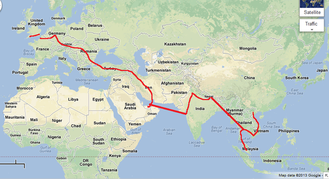 The route I rode (except for flying around Myanmar and Pakistan)
