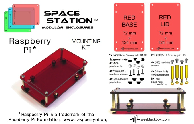 """RED Raspberry Pi"" SpaceStation Kit."