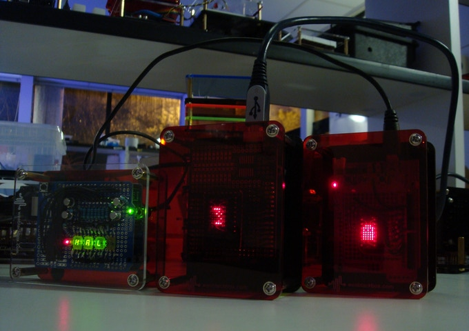 """Selection of completed LED display projects housed in """"UNO"""" Space Station enclosures."""