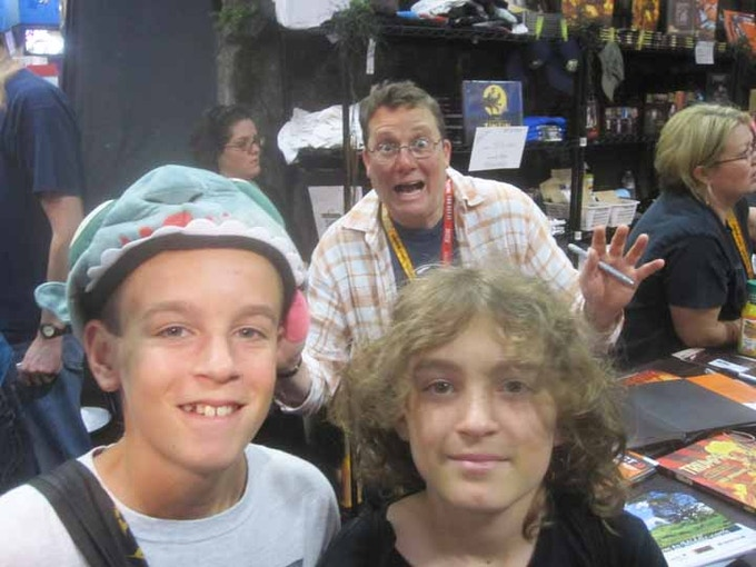 Josh & Harrison with Weta's Sir Richard Taylor (The Hobbit movie)