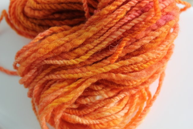 I hand spun and hand dye this 100% Polwarth yarn.