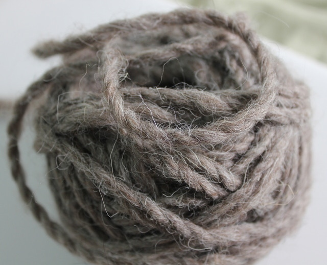 Grey Sulfolk I spun myself. in center pull ball