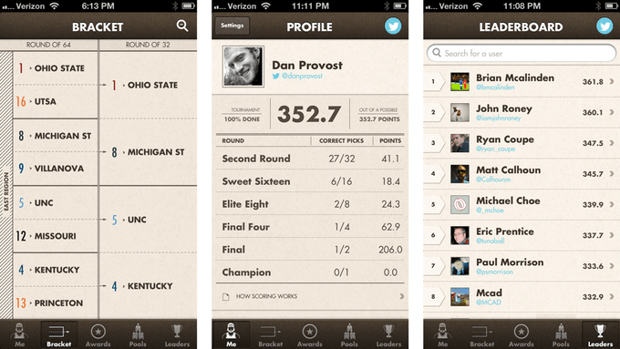 Screenshots of the Bracket, Profile, and Leaderboard screens.