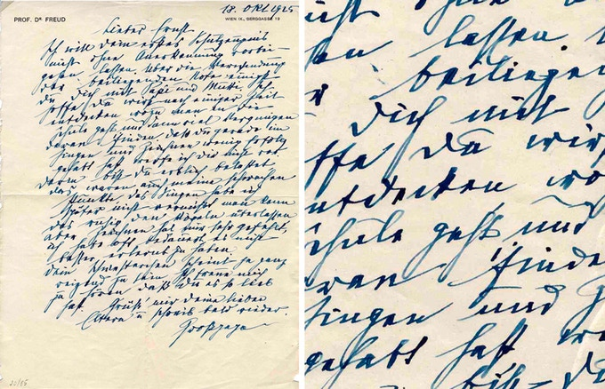 1925 • Letter from Freud to his Grandson, congratulating to his first school report.