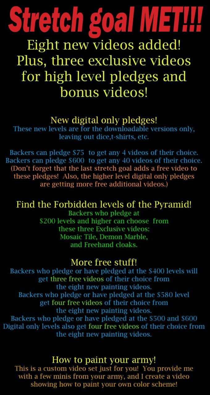 Here are the new pledges, rewards and videos!