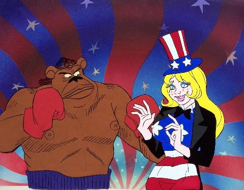 """Brother Bear and Miss America from """"Coonskin."""""""